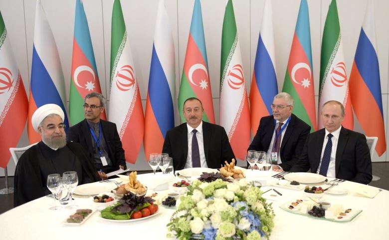 Image: Hassan Rouhani, Ilham Aliyev, and Vladimir Putin in Baku, 2016. Kremlin photo.