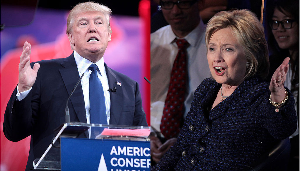 Donald Trump and Hillary Clinton during the 2016 United States presidential election. Wikimedia Commons/Creative Commons/Gage Skidmore/Krassotkin