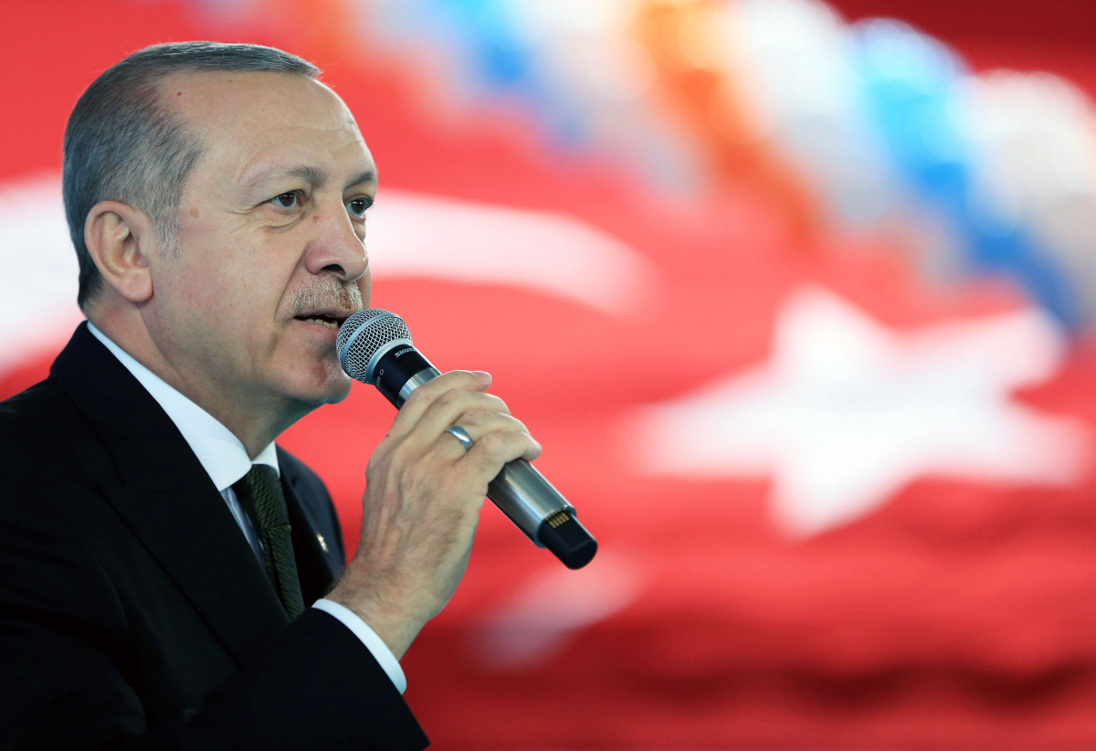 Turkish President Erdogan speaks during a meeting of his ruling AK Party in Trabzon
