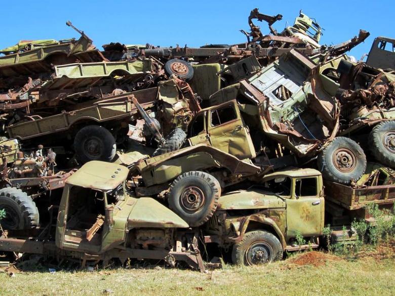 Destroyed Soviet military equipment in Asmara, Eritrea. Wikimedia Commons/David Stanley