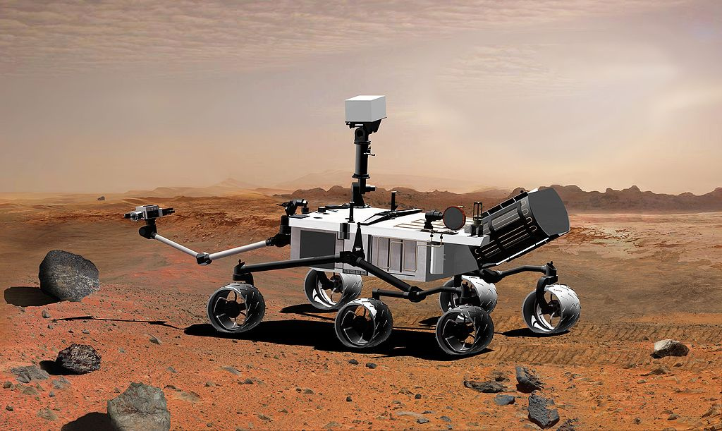 2007 rendering of NASA's Mars Science Laboratory, later named Curiosity. Wikimedia Commons/Public domain