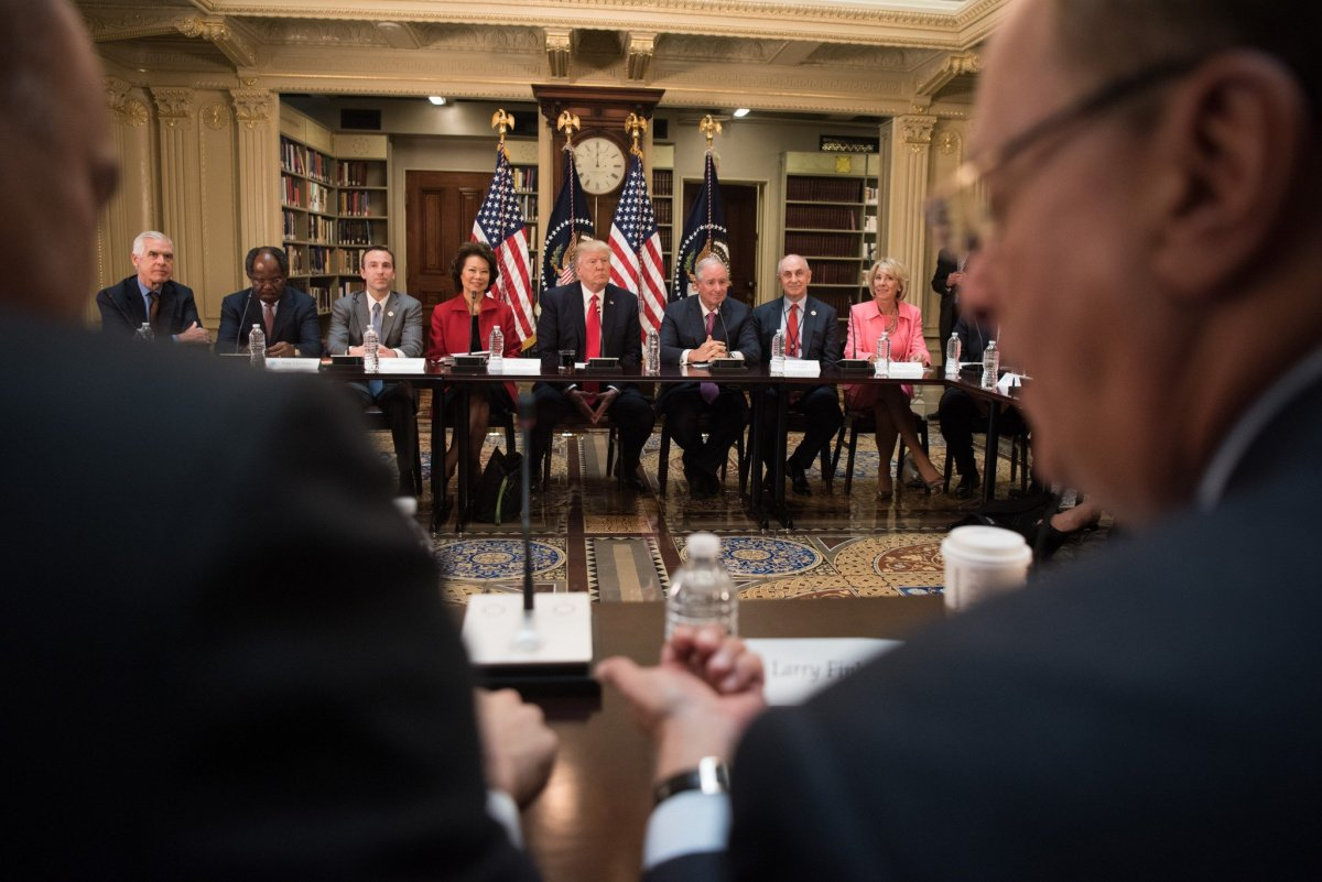 President Donald J. Trump attends a strategic and policy CEO discussion. Flickr/The White House