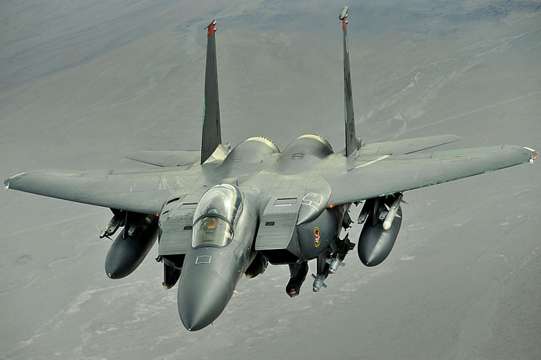 An F-15E Strike eagle conducts a mission over Afghanistan. Wikimedia Commons/U.S. Air Force