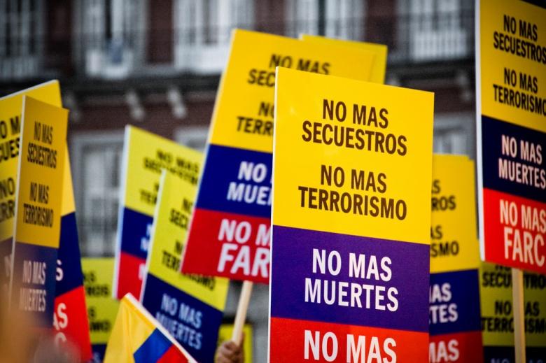 Demonstration against FARC in Madrid, Spain. Flickr/Camilo Rueda López