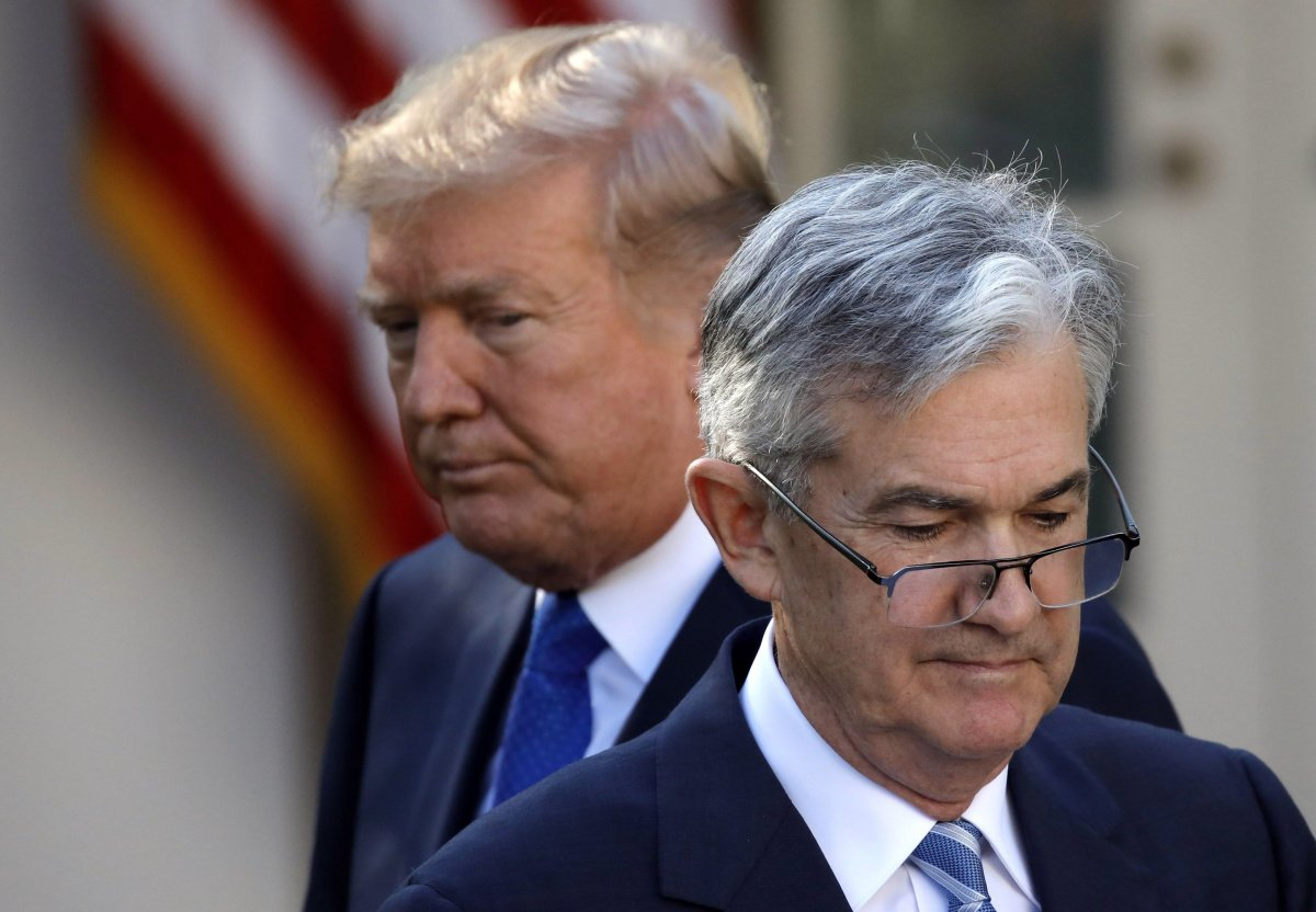 U.S. President Donald Trump looks on as Jerome Powell, his nominee to become chairman of the U.S. Federal Reserve moves to the podium at the White House in Washington