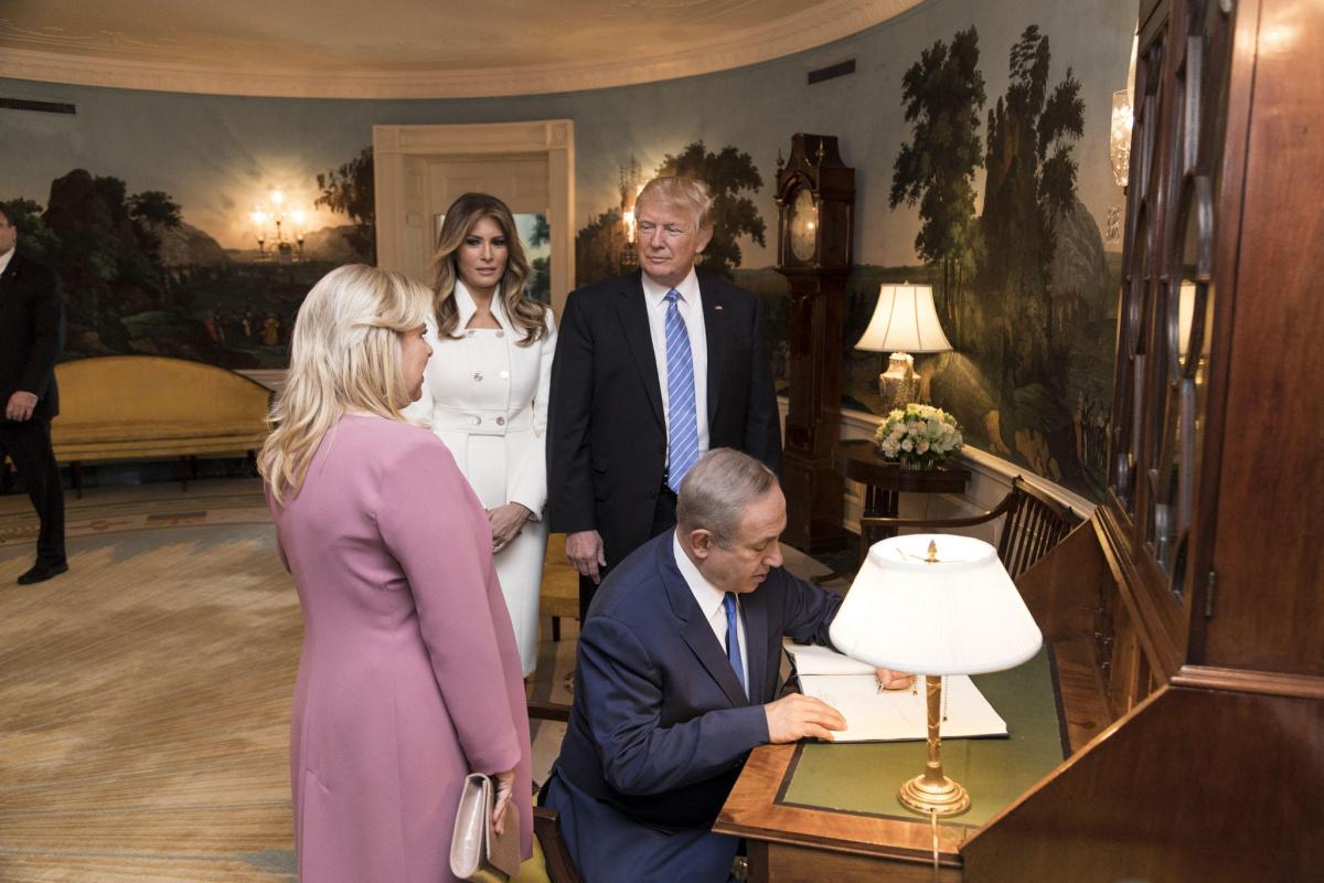 Donald and Melania Trump with Israeli Prime Minister Benjamin Netanyahu and his wife, Sara Netanyahu. Flickr/The White House