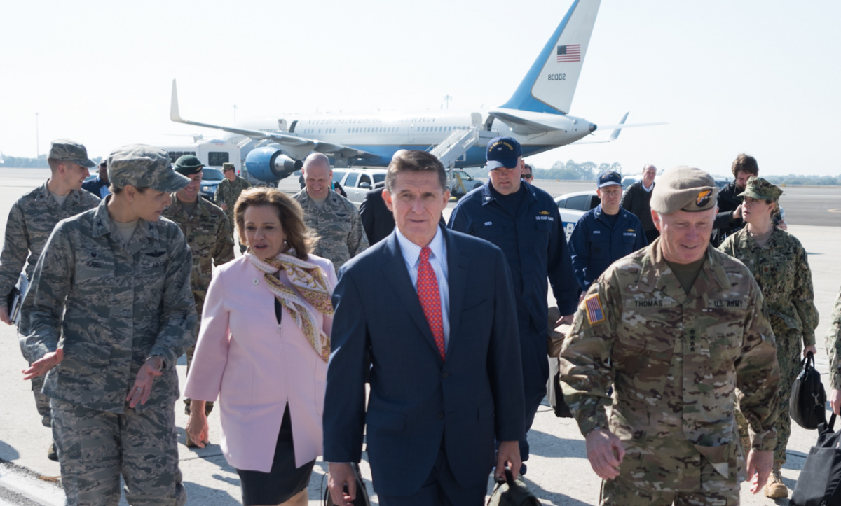 National Security Advisor Michael Flynn at MacDill Air Force Base. Flickr/Chairman of the Joint Chiefs of Staff