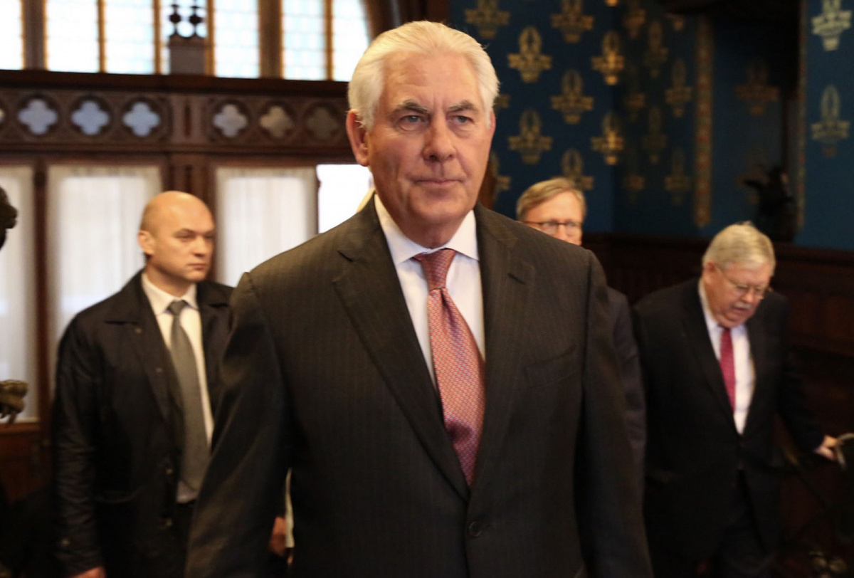 Rex Tillerson arrives at the Osobnyak Guest House ahead of a bilateral meeting with Sergey Lavrov. Flickr/U.S. Department of State