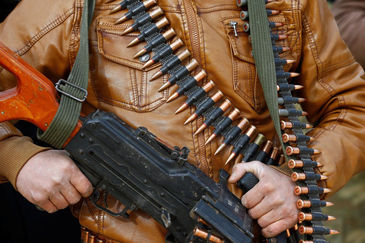A Turkey-backed Free Syrian Army fighter is pictured at a training camp in Azaz, Syria