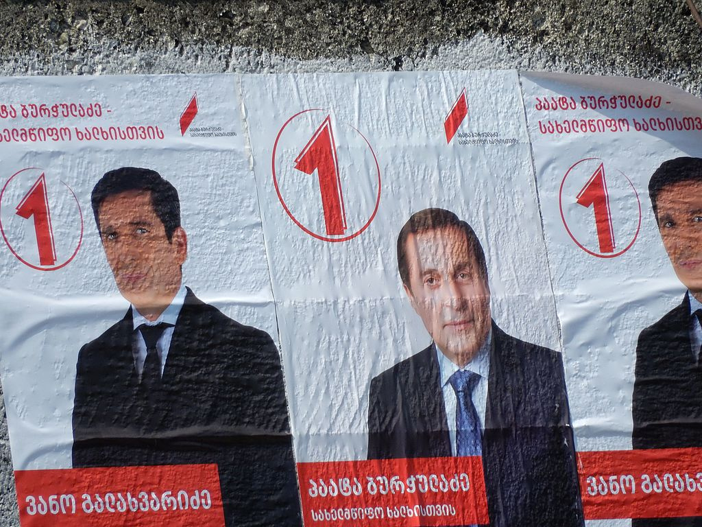 Posters in Tbilisi during Georgia's parliamentary election. Wikimedia Commons/Creative Commons/@Shuvaev