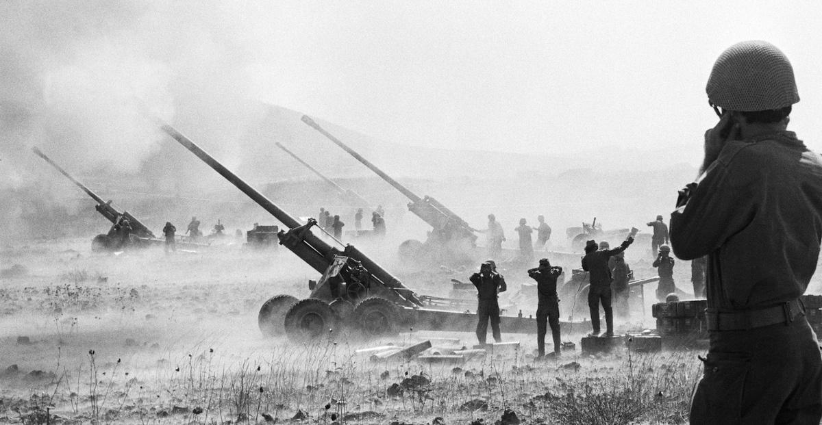 Israeli artillery fires on Syrian positions during the Arab-Israeli War. Flickr/Central Intelligence Agency