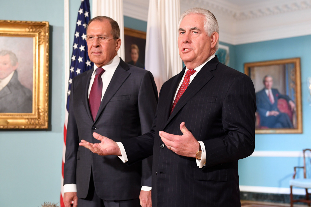 Rex Tillerson and Sergey Lavrov address reporters before their bilateral meeting. Flickr/Department of State