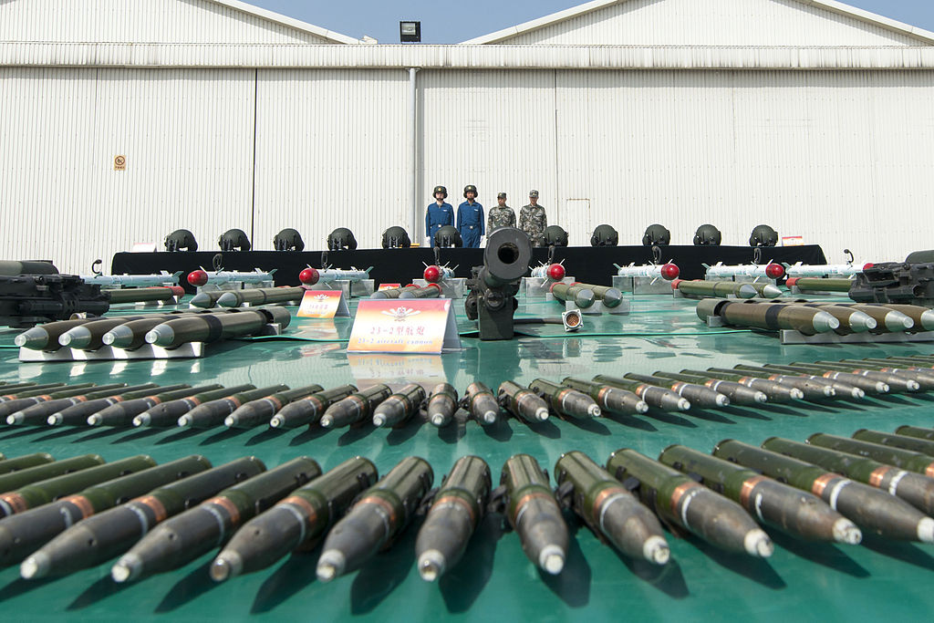 Munitions are on display at a Chinese military post near Beijing. Wikimedia Commons/U.S. Department of Defense