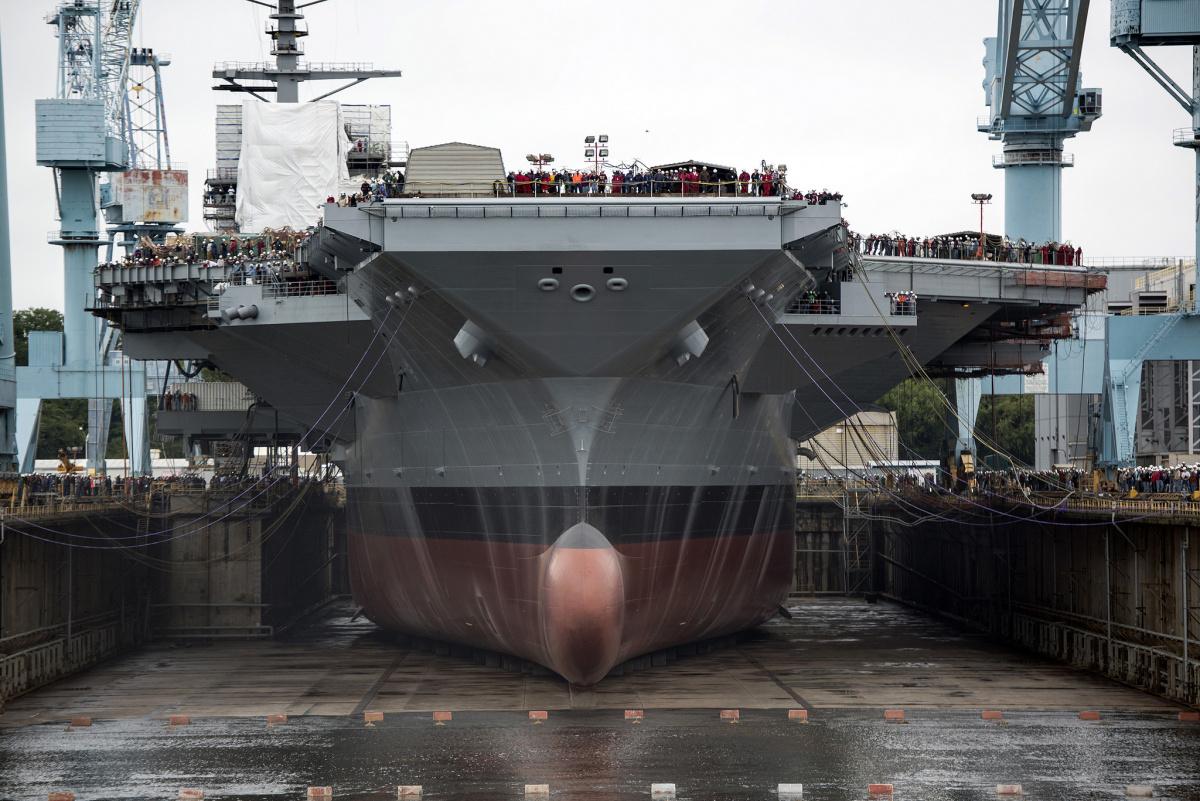 USS Gerald R. Ford in dry dock. Flickr/U.S. Navy