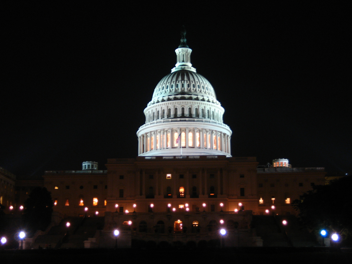 The U.S. Capitol building at night. Flickr/Creative Commons/Kyle Rush