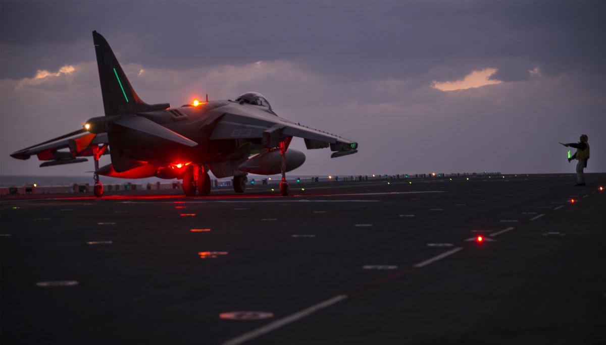 An AV-8B Harrier takes off from the flight deck of USS Bonhomme Richard. Flickr/Department of Defense
