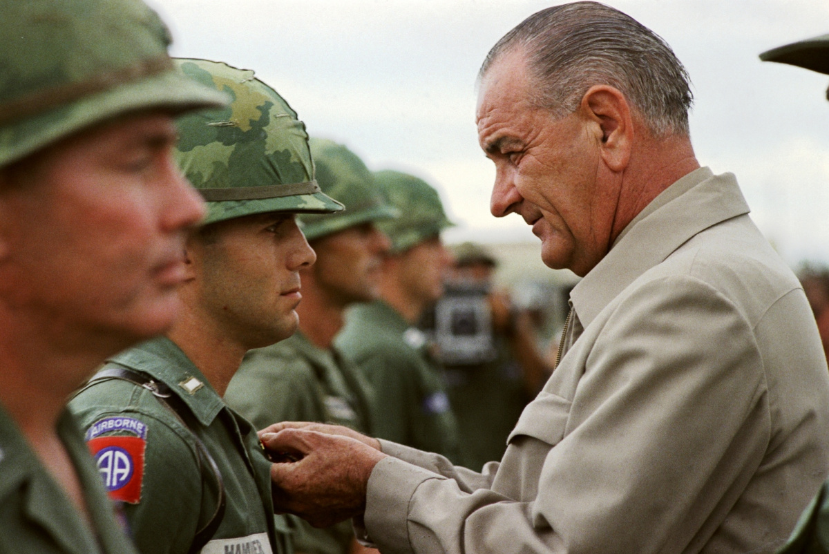 President Lyndon B. Johnson in Vietnam, 1966. Wikimedia Commons/Public domain