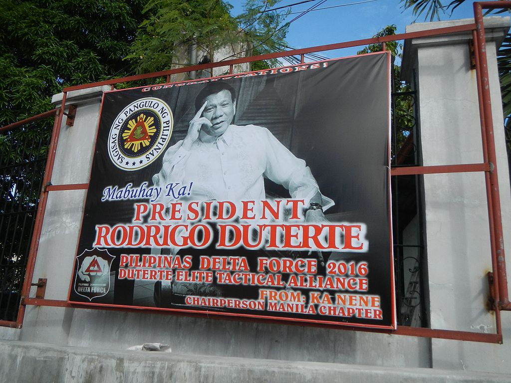 Campaign poster for Rodrigo Duterte's presidential campaign. Wikimedia Commons/Creative Commons/@Judgefloro