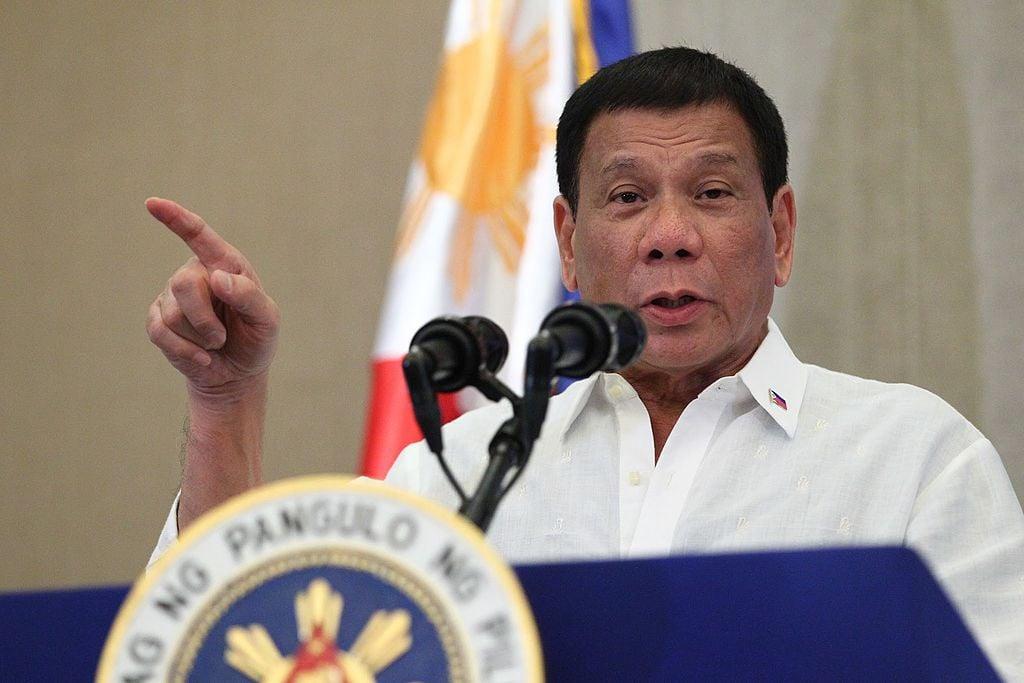 Rodrigo Duterte delivers his message to the Filipino community in Vietnam. Wikimedia Commons/Public domain