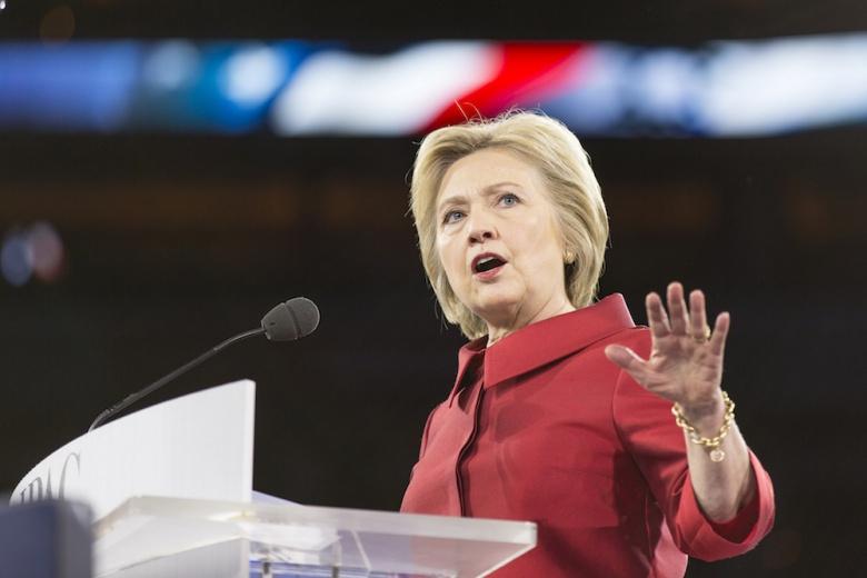 Hillary Clinton at AIPAC 2016. Flickr/Lorie Shaull