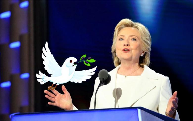Image: Hillary Clinton accepts the Democratic Party's nomination in Philadelphia, 2016. Photo by A. Shaker/VOA, public domain. / A cartoon dove, by Alexas_Fotos. Pixabay, public domain.