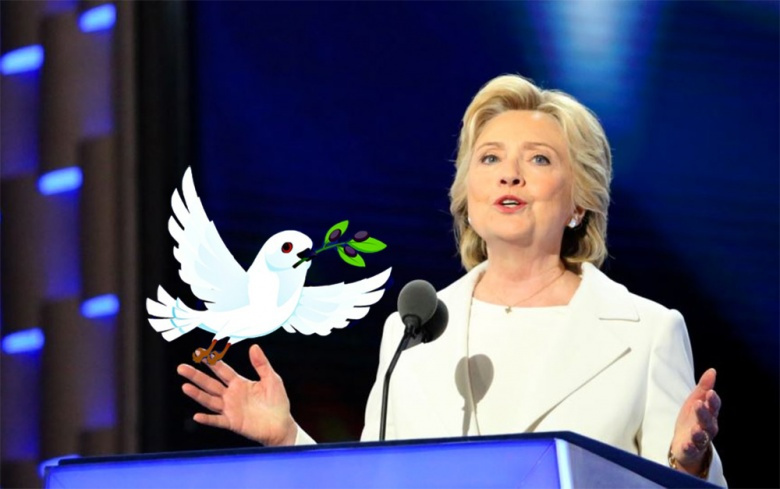 Image: Hillary Clinton accepts the Democratic Party's nomination in Philadelphia, 2016. Photo by A. Shaker/VOA, public domain. / A cartoon dove, by Alexas_Fotos. Pixabay, public domain.