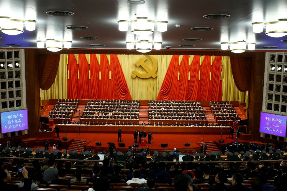 Delegates attend the closing session of the 19th National Congress of the Communist Party of China at the Great Hall of the People in Beijing, China October 24, 2017. REUTERS/Thomas Peter