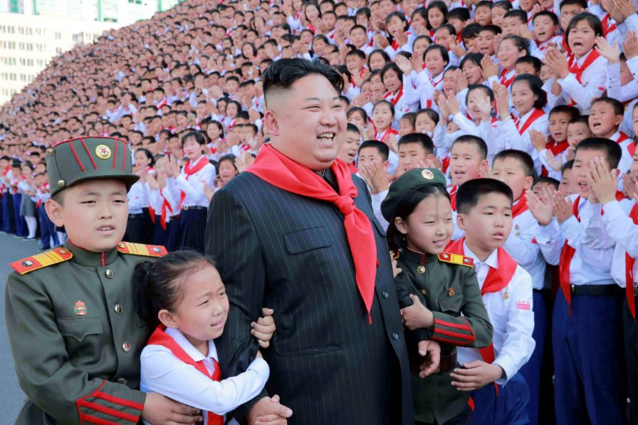 North Korean leader Kim Jong Un poses with participants during the 8th Congress of the Korean Children's Union (KCU) in this undated photo released by North Korea's Korean Central News Agency (KCNA) in Pyongyang, North Korea June 8, 2017. KCNA via REUTERS