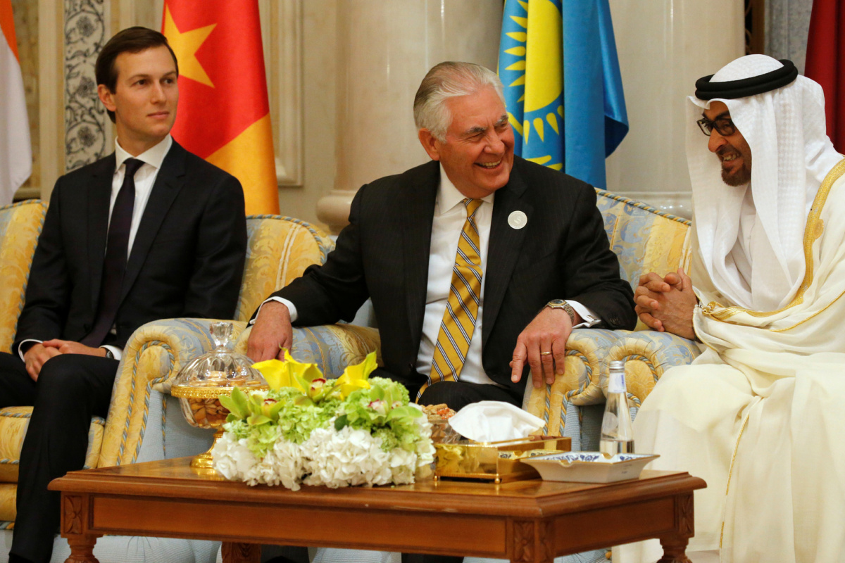 U.S. Secretary of State Rex Tillerson, flanked by White House senior advisor Jared Kushner (L), speaks with Abu Dhabi Crown Prince and Deputy Supreme Commander of the United Arab Emirates (UAE) Armed Forces Mohammed bin Zayed al-Nahayan during the Gulf Cooperation Council leaders summit in Riyadh, Saudi Arabia May 21, 2017. REUTERS/Jonathan Ernst