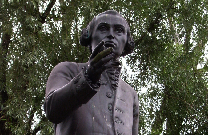 Statue of Immanuel Kant in Kaliningrad state university area, Kaliningrad, Russia. Replica by Harald Haacke of the original by Christian Daniel Rauch lost in 1945. Wikimedia Commons