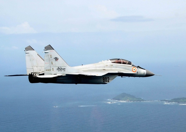 Mikoyan MiG-29K of the Indian Navy in flight over Indian islands. Wikimedia Commons/Indian Navy