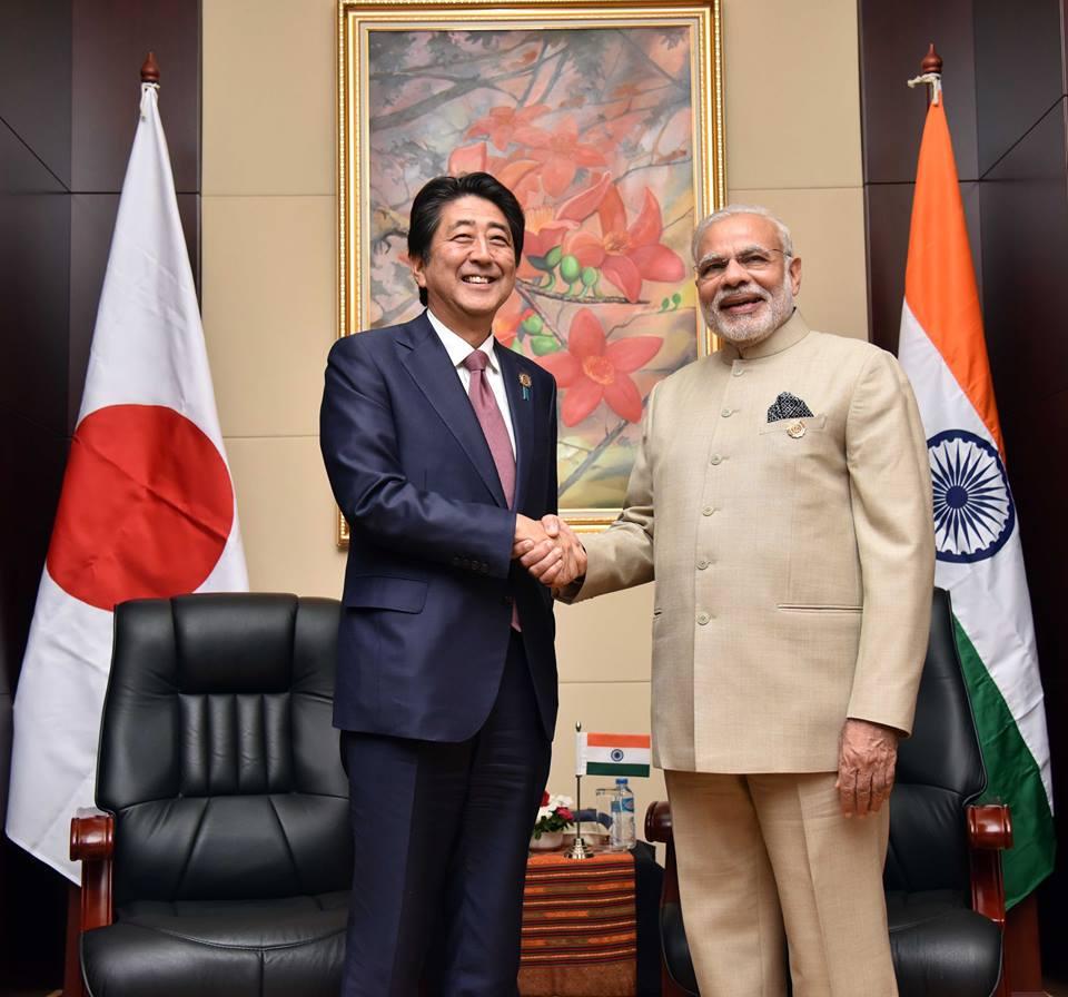 Shinzo Abe with Narendra Modi. Wikimedia Commons/Creative Commons/Narendra Modi