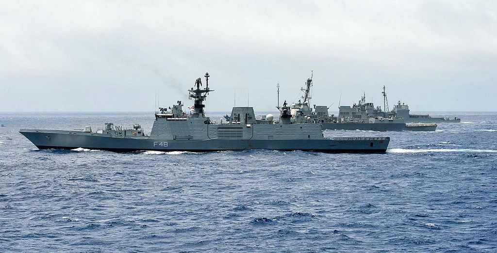 Ships from the Indian navy, Japan Maritime Self-Defense Force and U.S. Navy during a group sail signifying the end of Malabar 2016. Wikimedia Commons/U.S. Navy