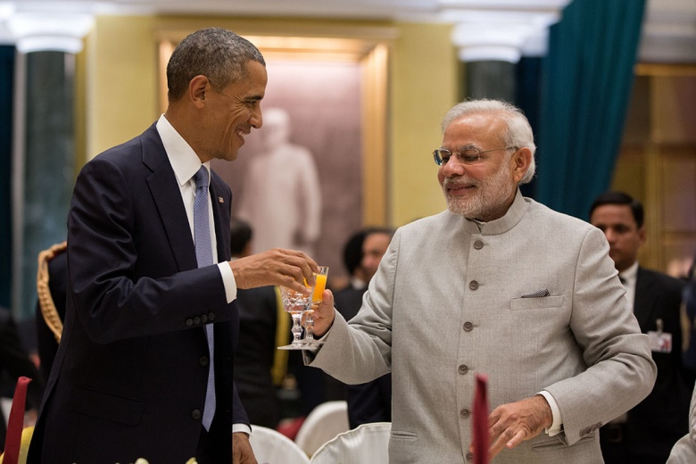 President Barack Obama toasts Prime Minister Naredra Modi. WhiteHouse.gov/Pete Souza