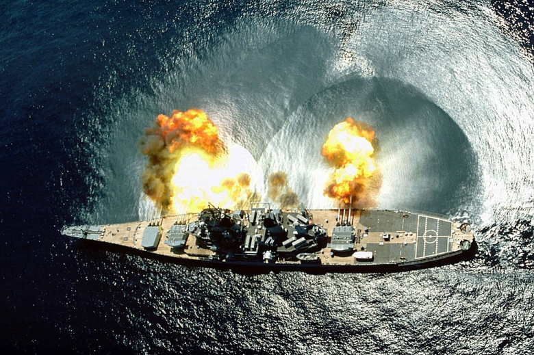 USS Iowa fires a full broadside during a target exercise. Wikimedia Commons/U.S. Navy