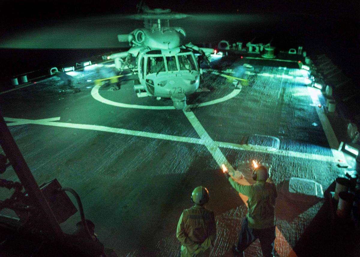 USS Mahan conducts flight operations. Flickr/U.S. Navy