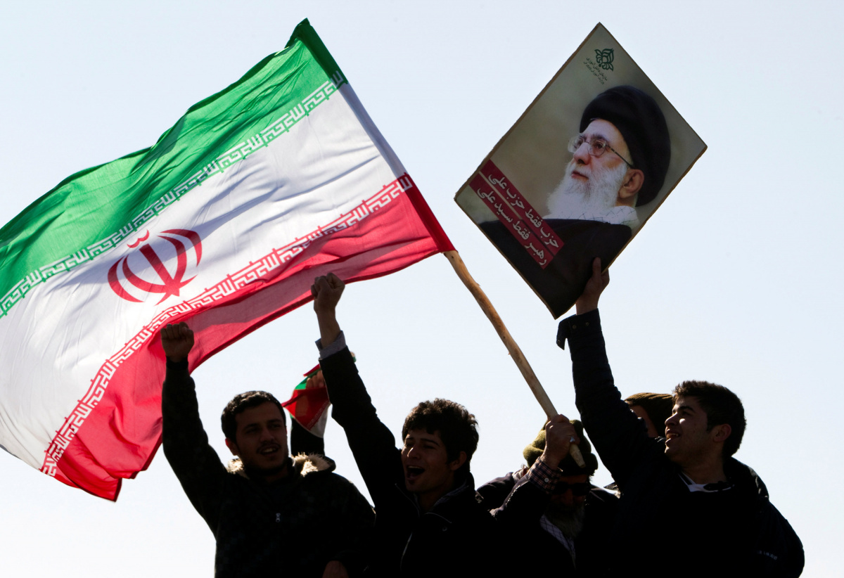 Demonstrators attend a ceremony to mark the 33rd anniversary of the Islamic Revolution in Tehran