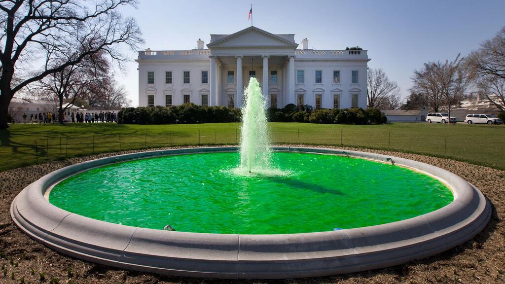 The water in the fountain on the North Lawn of the White House in Washington DC, dyed green for Saint Patrick's Day. Wikimedia Commons/The White House