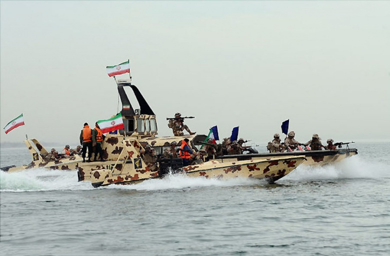 IRGC amphibious forces in a naval exercise, 2015. Wikimedia Commons/Shahab-o-din Vajedi.