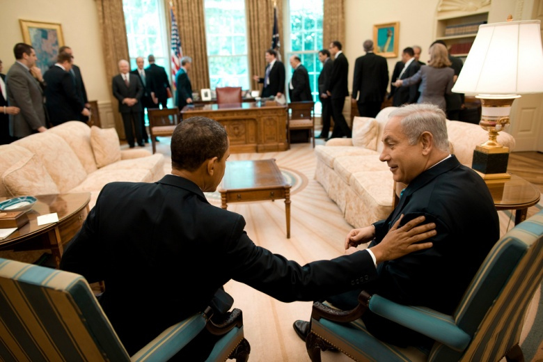 President Barack Obama talks with Israeli Prime Minister Benjamin Netanyahu in the Oval Office Monday, May 18, 2009. Flickr/The White House