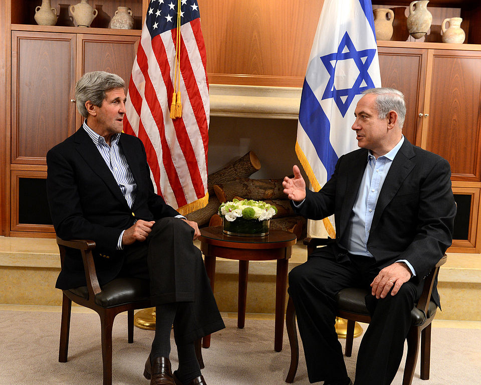 U.S. Secretary of State John Kerry with Israeli Prime Minister Benjamin Netanyahu. Wikimedia Commons/Department of State