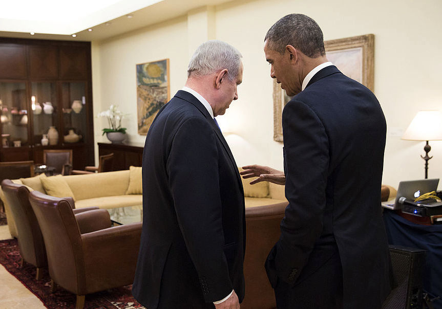 President Barack Obama talks with Israeli Prime Minister Benjamin Netanyahu in 2013. Wikimedia Commons/The White House