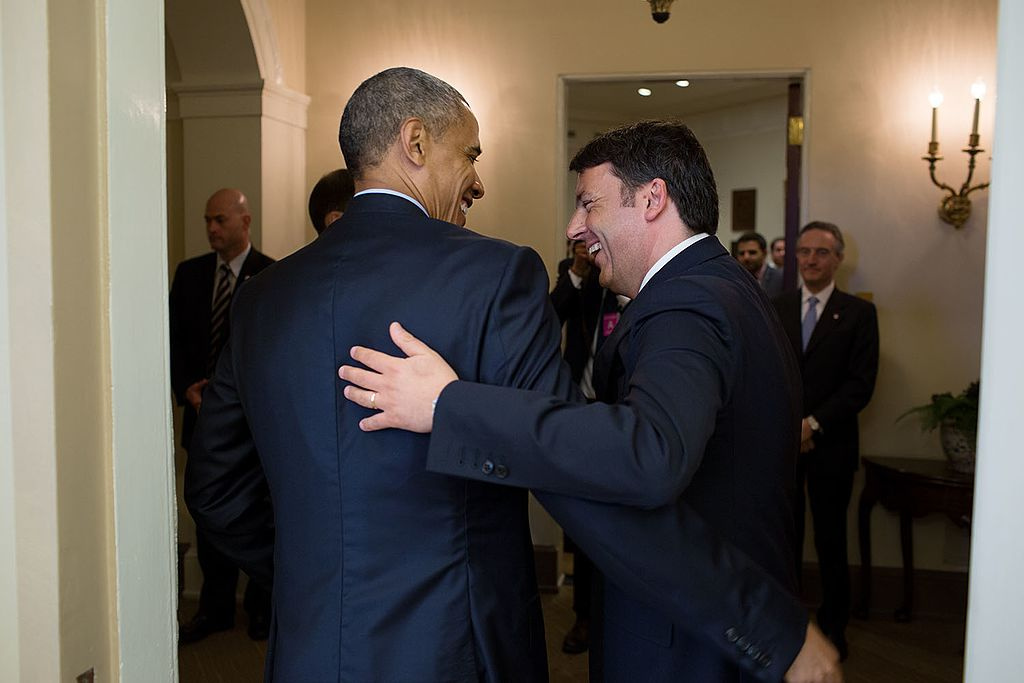 President Barack Obama greets Prime Minister Matteo Renzi of Italy. Wikimedia Commons/The White House