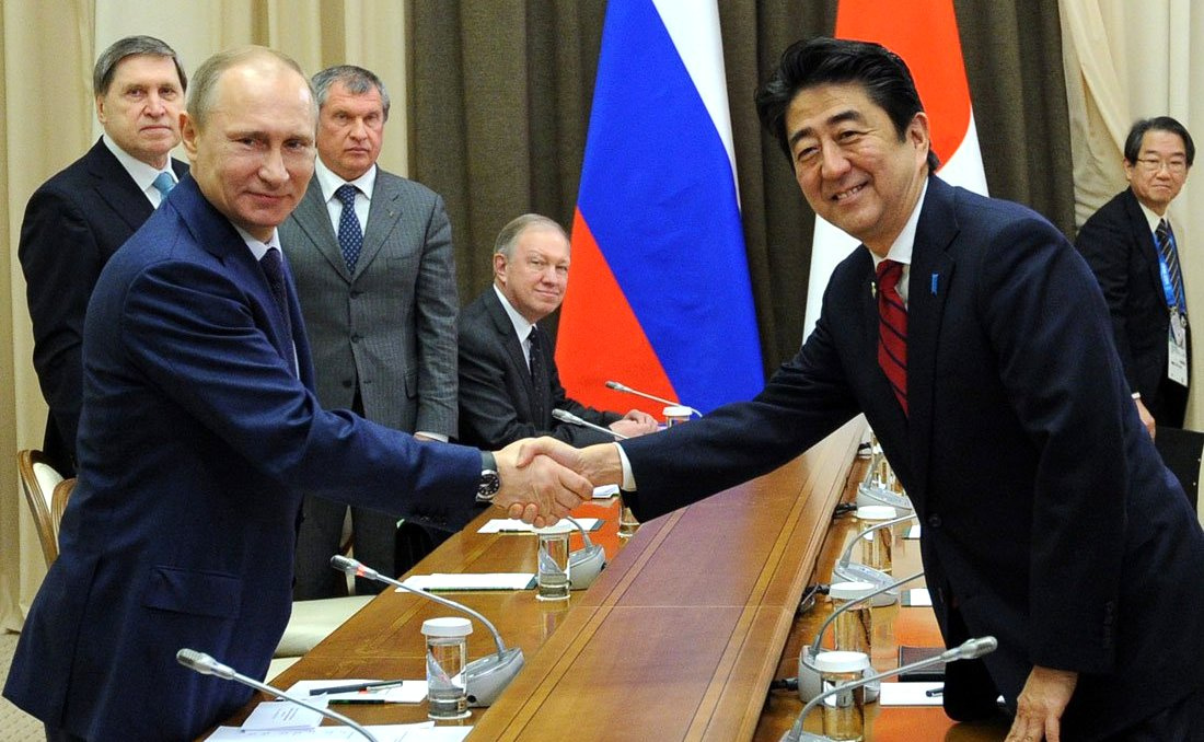 Vladimir Putin with Shinzo Abe in 2014. Kremlin.ru