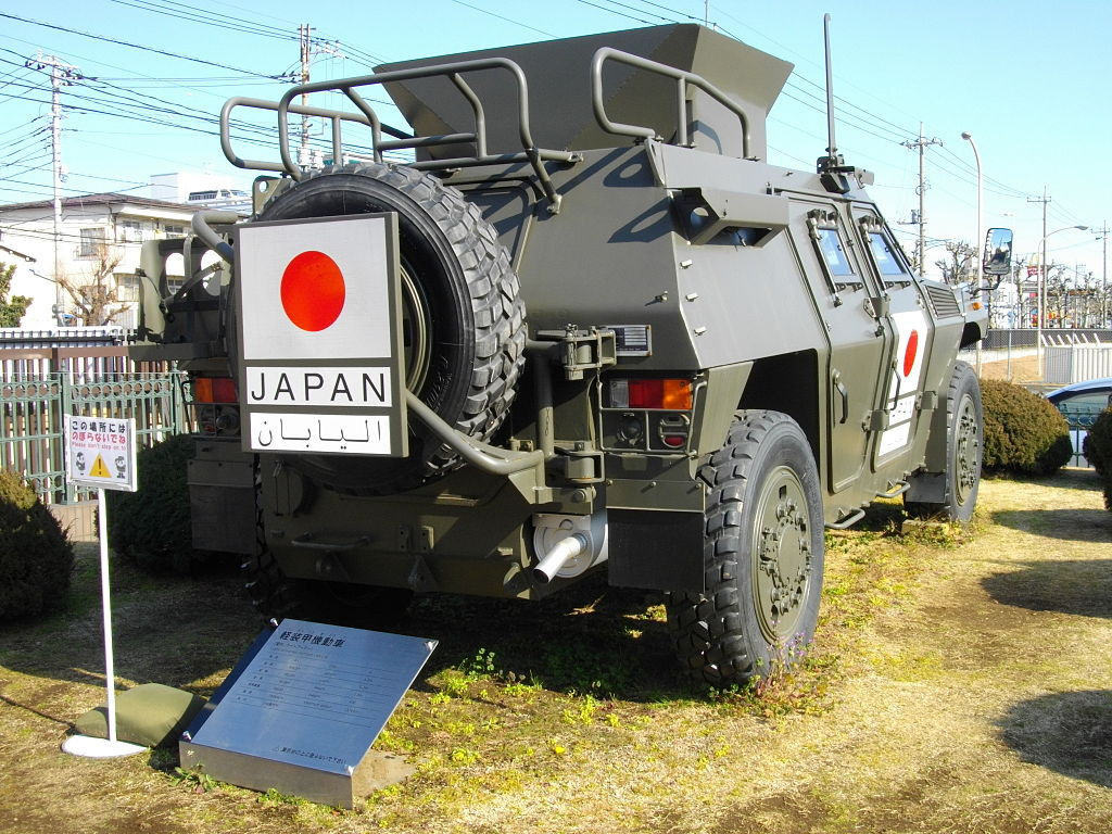 A Komatsu light armored vehicle with Japanese Iraq Reconstruction and Support Group markings. Wikimedia Commons/Public domain/@Abasaa
