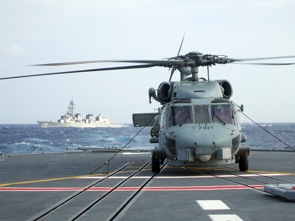 A SH-60B Seahawk helicopter sits on the deck of JDS Kurama. Wikimedia Commons/U.S. Navy