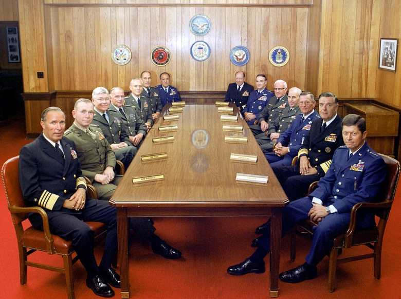 The Joint Chiefs of Staff and several combatant commanders on July 1, 1983. Wikimedia Commons/Department of Defense