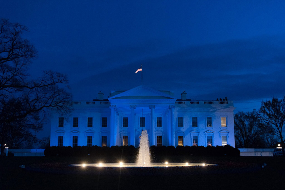 The White House lit in blue. Flickr/The White House