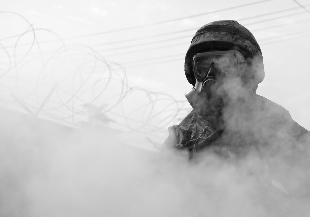 A Republic of Korea Airman during ROK/U.S. Combined Chemical, Biological, Radiological, and Nuclear Field Training Exercise. Flickr/Department of Defense