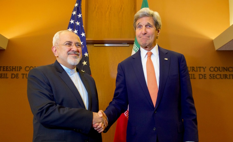 Image: U.S. Secretary of State John Kerry shakes hands with Iranian foreign minister Mohammad Javad Zarif at the United Nations in New York, 2016. U.S. State Department photo.